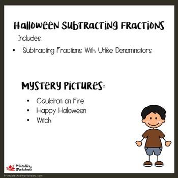 Fun Math Halloween Subtracting Fractions Unlike Denominators Worksheets
