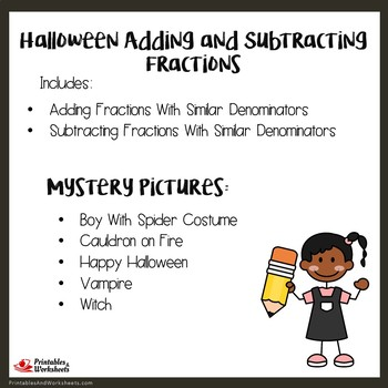Halloween Adding And Subtracting Fractions With Like Denominators Worksheets