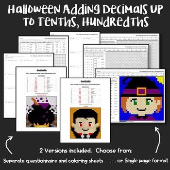 Halloween Adding Decimals Up to Tenths, Hundredths