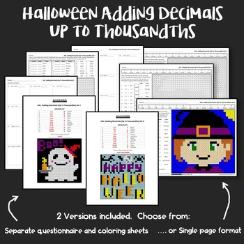 Halloween Adding Decimals Up to Thousandths