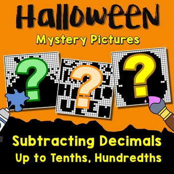 Halloween Subtracting Decimals Up to Tenths, Hundredths