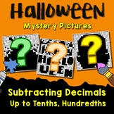 Subtracting Decimals To Tenths, Hundredths, Fun Math Coloring Halloween Pages