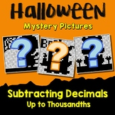 Halloween Subtracting Decimal To The Thousandths, Math Coloring Pages By Number