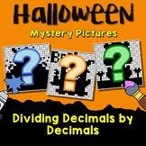 Decimal Division Worksheets, October Color By Code Mystery Pictures Halloween