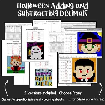 Halloween Adding and Subtracting Decimals