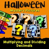 Halloween Multiplying And Dividing Decimals Project, Color By Number Code Sheets