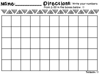 50s Chart Worksheet/Assessment/Homeword