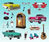 50s Diner Clip Art - Retro Diner Digital Graphics