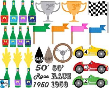 50s Race Car Props V2 - Clip Art Digital Files Personal Commercial Use cod240