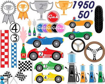 50s Race Car Props V3 - Clip Art Digital Files Personal Commercial Use cod242