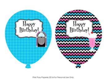 50s Sock Hop Birthday Balloons