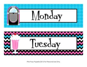 50s Sock Hop Calendar Set - Months - Days - Numbers