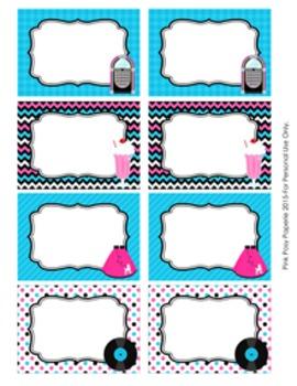 50s Sock Hop Classroom Decor Bin Tag Labels