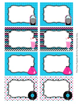 50s Sock Hop Classroom Decor Bin Tag Labels