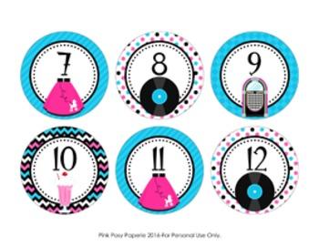 50s Sock Hop Cubby Number Labels 1-30
