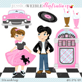 50s Sock Hop Cute Digital Clipart, Retro Drive In Poodle Skirt Graphics