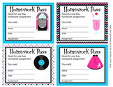 50s Sock Hop Homework Passes