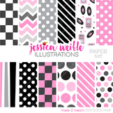 50s Sock Hop Matching Digital Papers, Soda Shop Papers