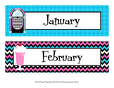 50's Sock Hop Monthly Calendar Headers