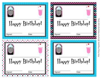 50s Sock Hop Theme Birthday Certificates