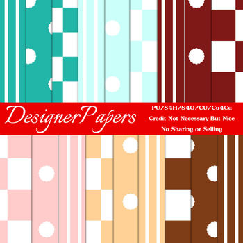 50's Soda Fountain Colors Digital Papers Package