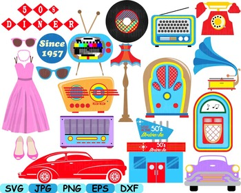 50s clip art cars music note svg classic music rock radio phone sport props 115s