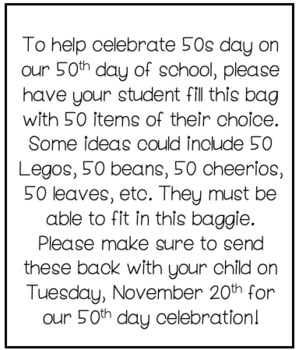 50s day item collection note
