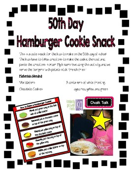 50th Day Hamburger Cookie Snack