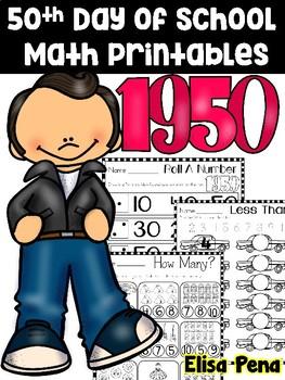 50th Day Math Printables
