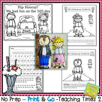 50th Day of School Activities and Craft Freebie