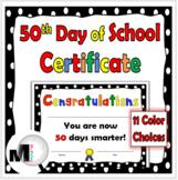 50 Days of School Certificate