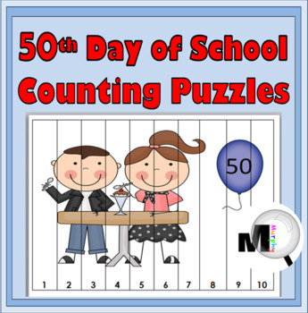 50th Day of School Counting Puzzle Activities ~ Numbers 1-