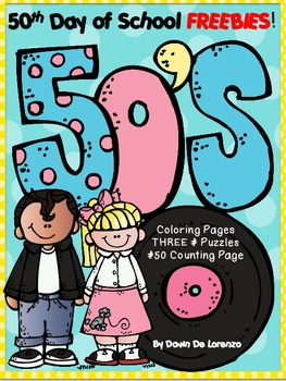 50th Day of School FREEBIE! {Coloring, Counting & # Puzzles}