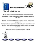 50th Day of School Letter Home