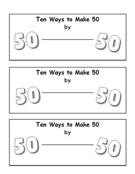 50th Day of School - Ten Ways to Make 50 Booklet
