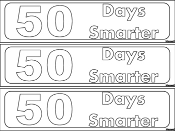 50th Day of School for 50 Days of Learning Bookmarks! Color & Blackline
