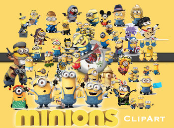 51 Minions ClipArt - Digital , PNG, image, picture, oil painting