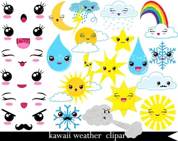 51 PNG Files- Kawaii Weather Clipart - Digital Clip Art  086