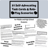 Middle & High School Speech Therapy Self Advocacy Activities/Role-Play Scenarios