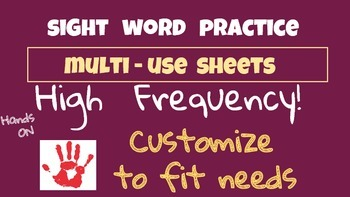 51 sight words high frequency practice  Customize   Large print