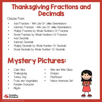 Thanksgiving Fractions and Decimals Bundle