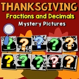 Thanksgiving Fractions And Decimals Project, Math Mystery Coloring Pages