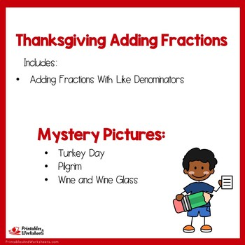 Thanksgiving Adding Fractions With Like Denominators