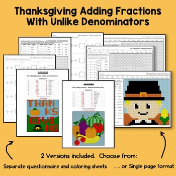 Thanksgiving Adding Fractions With Unlike Denominators