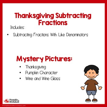 Thanksgiving Subtracting Fractions With Like Denominators