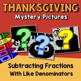 Like Denominator Subtract Fraction Thanksgiving Activity 4th Grade Color-Number