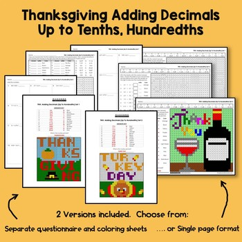 Thanksgiving Adding Decimals Project Tenths, Hundredths Mystery Math Color Sheet