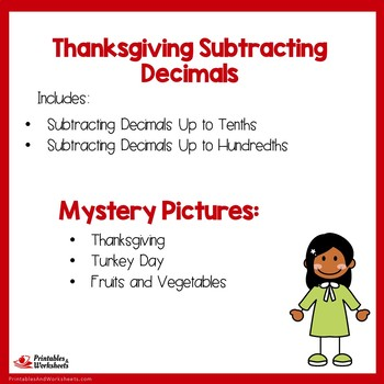Thanksgiving Subtracting Decimals Up to Tenths, Hundredths