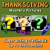 Thanksgiving Subtracting Decimal To The Thousandth, Math Coloring Page By Number