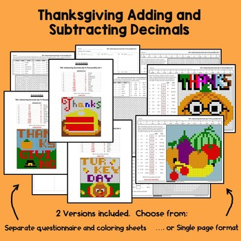 Thanksgiving Adding and Subtracting Decimals